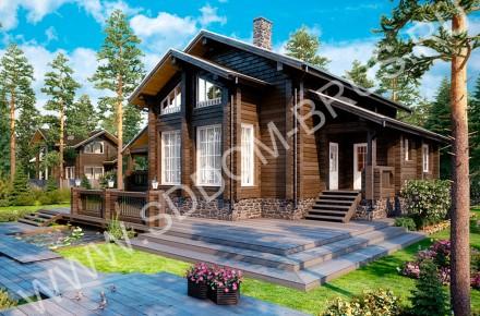 Дом из клееного бруса Деревянное изящество