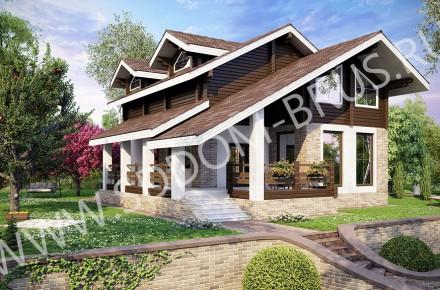 Дом из клееного бруса Комбинированный дом